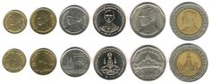 Baht tailandês (1897-em uso) (x) 1 baht (1986-2012) O: efígie de Bhumibol…