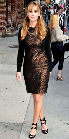 Lawrence sat down for an interview with David Letterman in a metallic Prabal Gurung sheath and mesh Jimmy Choo sandals.