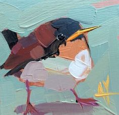 Baby Wren Original Bird Oil Painting by Angela Moulton 4 x 4 inch