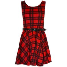 Women Red Tartan Sexy Skater Dress Ladies Check Belted Party Dress ($10) ❤ liked on Polyvore featuring dresses, belted dresses, red checkered dress, red plaid dress, sexy red cocktail dress and red cocktail dress