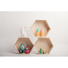 Hexagon wooden shelf