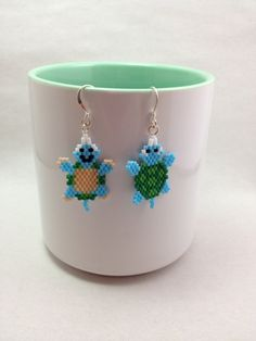 Fun Turtle Brick Stitch Earrings by BeadingBeeCreations on Etsy, $12.00