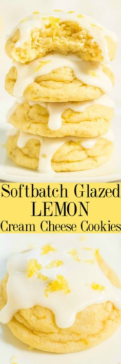 Softbatch Glazed Lemon Cream Cheese Cookies - Big, bold lemon flavor packed into super soft cookies thanks to the cream cheese!! Tangy-sweet perfection! Lemon lovers are going to adore these easy cookies!! #ChristmasCookies