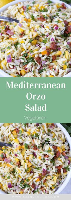 Bursting with flavours, this Mediterranean Orzo Salad is a great make-ahead meal that last for days in the fridge for a quick and easy lunch. Salad Recipes Healthy Lunch, Salad Recipes For Dinner, Pasta Salad Recipes, Easy Healthy Recipes, Vegetarian Recipes, Healthy Eating, Veggie Pasta Salads, Lunch Healthy, Salads For Lunch