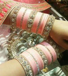 Baby pink Silk Bangles, Bridal Bangles, Thread Bangles, Wedding Jewelry, Indian Bangles, Chuda Bangles, Wedding Chura, Wedding Attire, Bridal Chuda