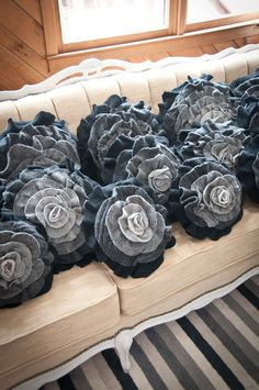 Charcoal Gray Ombre Ruffle Rose Pillow by thatfunkyboutique