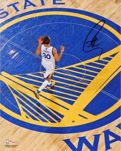 "Stephen Curry Golden State Warriors Autographed 8"" x 10"" Center Court Top View Photograph"