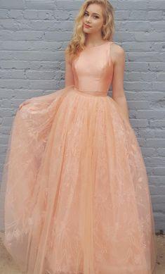 Elegant Two Piece A-Line Jewel Sleeveless Long Prom/Evening
