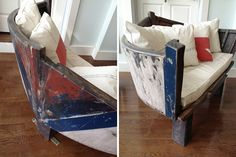 Boat Stern Couch + Sail Cloth Pillows | 17 Quirky Couches Made from Repurposed Materials