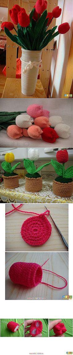 Цветы крючком. Тюльпаны...♥ Deniz ♥