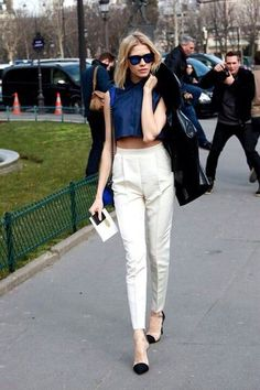 High rise white trousers, navy black & white, cropped blouse, cap toe clear heels