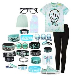 """""""Mint and Black"""" by bandsvansandsodacans ❤ liked on Polyvore featuring Topshop, Converse and Forever 21"""