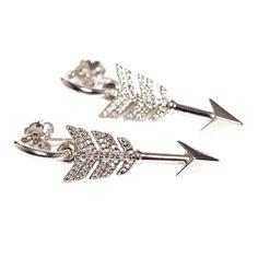 Jade Jagger Diamond Arrow Earrings | From a unique collection of vintage stud earrings at https://www.1stdibs.com/jewelry/earrings/stud-earrings/