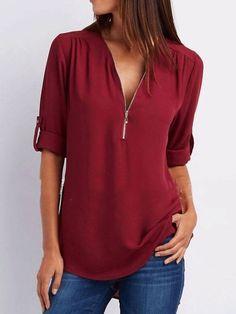 9252c6d99d1f32 Spring Summer Polyester Women V-Neck Zips Plain Roll-Up Sleeve Long Sleeve  Blouses