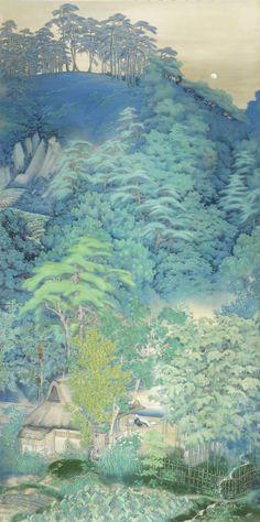 Kato Kokudo (Taisho (1912-1926) or Showa (1926-1989) era) Landscape under the Moon
