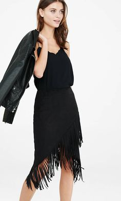 Black Faux Suede Fringe Pencil Skirt from EXPRESS