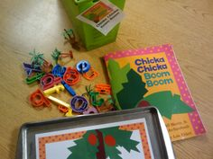 Creating CHICKA CHICKA BOOM BOOM props to help with retelling standards: K.RL.1, K.RL.2, K.RL.3 (key details, characters, setting and events)