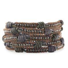 Chan Luu - Gunmetal Nugget Wrap Bracelet on Knotted Two Tone Leather Beaded Wrap Bracelets, Bracelets For Men, Beaded Jewelry, Jewelry Bracelets, Handmade Jewelry, Silver Bracelets, Handmade Silver, Leather Wrap Bracelets, Beaded Leather Wraps