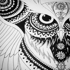 Just a sneak peak of my current project..... #owl #drawing #ink #blackandwhite #indianink #chakras #paisley #mandala #change #artwork #creativeindulgence #creativity #contrast #linework #dotwork #sacredgeometry by _elmolynn