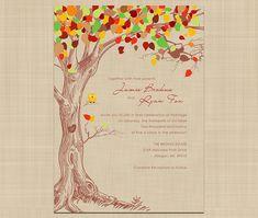 Autumn Wedding Invitation  Rustic Vintage by colorsplashdesign