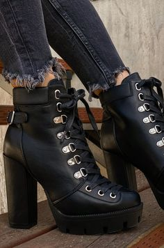 Goth Boots, Silver Heels, Chunky Heels, Combat Boots, Lace Up, Drop, Black, Fashion, High Heels