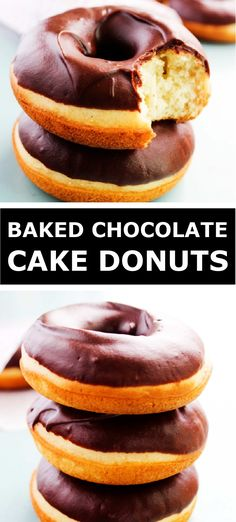 Baked Chocolate Frosted Cake Donuts Baked Donut Recipes, Baked Doughnuts, Baking Recipes, Easy Desserts, Delicious Desserts, Dessert Recipes, Yummy Food, Chocolate Cake Donuts, Chocolate Ganache