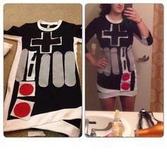 DIY Nintendo Controller costume felt sewn onto a bodycon dress!