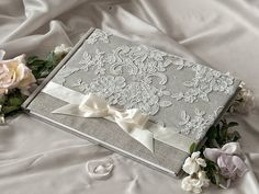 Wedding Guest Book Guestbook Lace Shabby Chic by DecorisWedding, $45.00