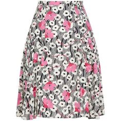 Valentino Floral Waves Midi Skirt ($1,515) ❤ liked on Polyvore featuring skirts, white knee length skirt, pleated skirt, floral print skirt, floral skirts and pleated midi skirt