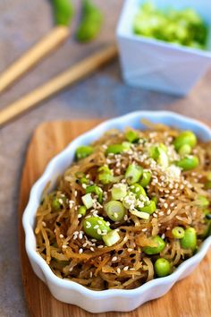Spagetti Squash Sesame Noodles with Edamame:  garlic, sesame oil, soy sauce, a bit of sugar, rice vinegar, and sesame seeds (oh, and cornstarch to thicken!) Healthy way to satisfy a Chinese food craving, if this works it'll be my new favorite dish!