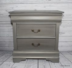This super sleek tall nightstand called out for Fusion Mineral metallic paint in brushed steel . I saw a dresser done last year and l...