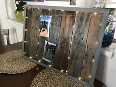 Lighted picture holder Pallets, lights, pictures, rustic, country, grey wood