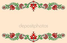 Vintage Label With Traditional Hungarian Floral Motives Stock Vector - Illustration of square, border: 55331459 Stencil Designs, Vintage Labels, Red Green, Embroidery Stitches, Origami, Cross Stitch, Traditional, Illustration, Floral