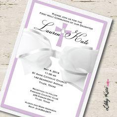 Girl First Communion Invitation Elegant by LibbyKateSmiles on Etsy
