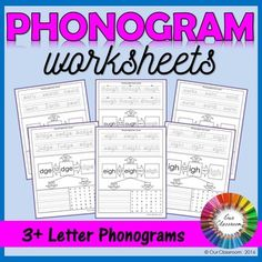 Phonogram Worksheets for the 3+ letter phonograms used in the Spalding Reading Program. Great to practice phonograms, phonics, handwriting and spelling.