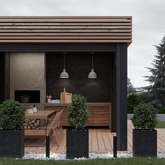 Minimalist style backyard patio exterior and furnishings