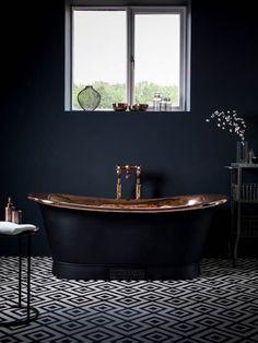 Black and Copper Bathroom Inspiration - via noglitternoglory.com