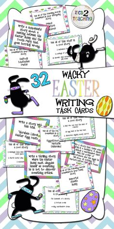 These egg-straordinary, silly, hippity-hoppity, weird, intriguing, and all-out-fun story starters and writing prompts are sure to keep your students writing with a smile this March and April! Tired of boring prompts? This pack is for you! Want to keep your kids engaged through these spring months that seem to drag on? Need to take a fun break from test prep? This resource is the one for you!