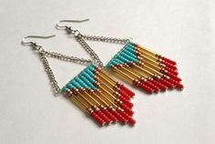 Red and Turquoise Beaded Chevron Earrings by OliveTreeHandmade