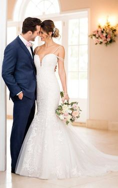 f764019604 6743 Mermaid Wedding Dress with Beaded Straps by Stella York Fit And Flare Wedding  Dress