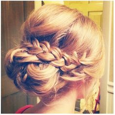 For the baptism!! Hair girls braid side, messed bun...LOVE this!!!!!