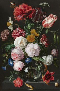 Jan Davidsz. de Heem - Still life with flowers in a glass vase, 17th century - Netherlands. Large HD