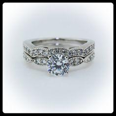 Moissanite Wedding Set Diamond Side Stones 14k by SerenadeDiamonds, $1705.00