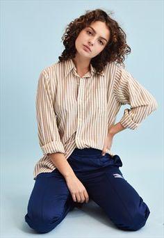 90's retro Boho striped print neutral shirt top