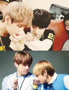 What is Tae doing is he kissing junkookie or smelling him XD.......what are you doing Tae what?