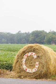 Floral monogram hay bale