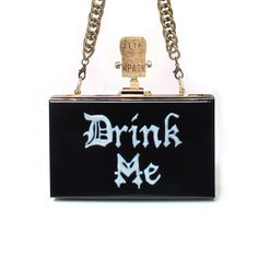 DRINK ME | New Version | $283USD now 10% off $255USD Hand-painted clutch bag DRINK ME. Brass buckle. wine cork. Comes with Long Chain 104 cm. Clutch Bag Dimensions: 18 X 11 X 5.5 cm