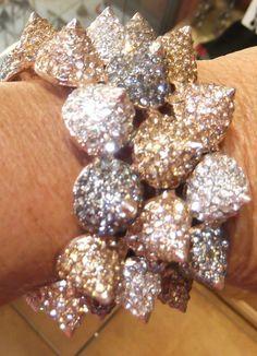 Silver, gold & rose gold rhinestones & over sized rhinestone spikes bracelets
