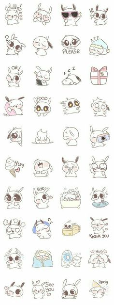 Bunny, rabbit, text, emojis; Kawaii