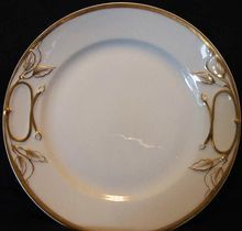 Brilliant White Limoges Porcelain Cake Plate with Gold Accents~ Haviland & Co 1888-1896